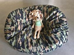 Kids Bean Bag. Camouflage lined fabric bean bag. Coordinate it with bedroom accent colours. Multiple seating options. Made to Order.
