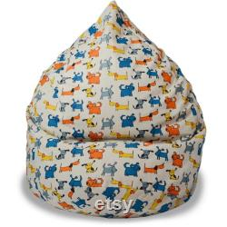 Kids Bean bag chair with dogs, Dog lover gift, Natural linen cover, With cotton insert, No Filler