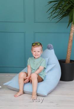 Kids Light Blue Bean Bag Chair