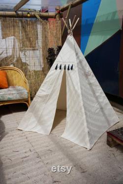 Kids Teepee Natural Calico Tassel Teepee teepee tent Unbleached Calico Teepee Play Tent Kids Teepee White
