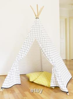 Kids Teepee White Checker Teepee teepee tent Canvas Linen Teepee Play Tent Kids Teepee White