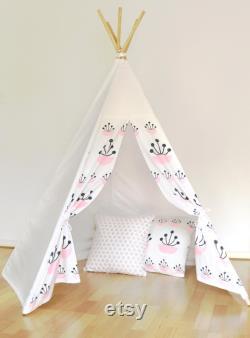Kids Teepee White Pink Flower Teepee teepee tent Canvas Linen Teepee Play Tent Kids Teepee White
