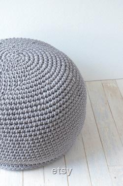 Kids room seating- Crochet pouffe Grey ottoman Grey nursery seating Footstool ottoman Floor Cushions