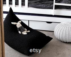 Knitted Bean Bag Chair Cover, BLACK Beanbag Chair Cover, Kids Bean Bag Chair, For Kids Lounger, Scandinavian Kids Furniture, Bean Bag Kids