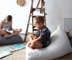 Knitted Bean Bag Chair Cover, Ecru Beanbag Chair Cover, Kids Bean Bag Chair, For Kids Lounger, Scandinavian Kids Furniture, Bean Bag Kids