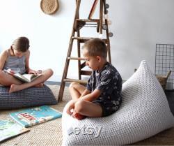 Knitted Bean Bag Chair, Ecru Beanbag Chair, Kids Bean Bag Chair, For Kids Lounger, Scandinavian Kids Bedroom Furniture, Bean Bag Kids
