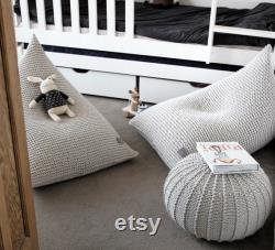 Knitted Bean Bag Chair, Kids Beanbag Chair, Kids Bean Bag, Chair For Kids, Bean Chair, Bean Bag Kids, Scandinavian Kids Bedroom Furniture