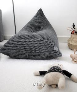Knitted Bean Bag Chair, Kids Beanbag Chair, Kids Bean Bag, Chair For Kids, Grey Bean Bag Kids, Scandinavian Kids Bedroom Furniture