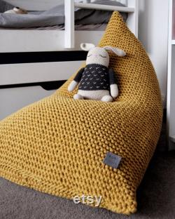 Knitted Bean Bag Chair, Mustard Beanbag Chair, Kids Bean Bag Chair, For Kids Lounger, Scandinavian Kids Bedroom Furniture, Bean bag Kids