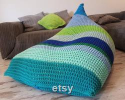 Knitted bean bag colours, pouf Seat, Crochet Pouf, ottomannursery footstool