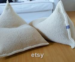 Knitted wool cream kids adult bean bag Wool bean bag chair Nursery floor pillow