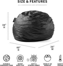 Large Fuf Foam-Filled Bean Bag Chair, Removable Cover, Black