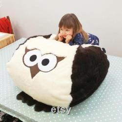 Large Owl, bean bag cover, large, fur bean bag, owl cushion, owl, bean bag chair, Large, fur floor cushion, Kids bean bag, Adults Beanbag