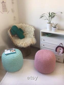 Light Mint Round Knit Pouf Ottoman, Chunky Crochet Pouffe, Modern Nursery Footstool