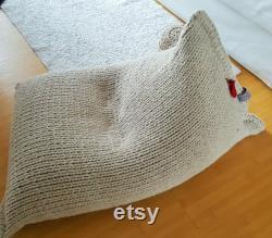 Light beige knitted wool bean bag Kids' Bean bag chair Nursery chair Floor pillow