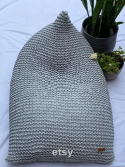 Light grey child s cotton knitted beanbag ( filled with polystyrene pellets) READY TO SHIP.