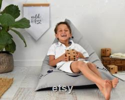 Lilah the Fox Personalised Bean Bag Chair Natural and Black UNFILLED