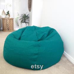 Linen Bean Bag Cover, Teal Linen Bean Bag, Sage Green, Fig Green, Seafoam, Grey, Blush, Pale Blue, Navy Linen