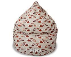 Linen Red Fox Bean Bag Chair Cover, Cute fox gift, Cotton insert, No Filler
