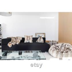 Luxury faux fur bean bag pouf, large fur beanbag with embroidery