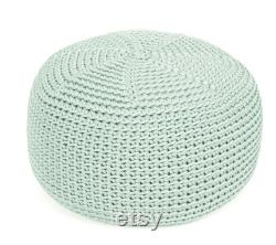 MINT crocheted MIDI size POUF floor cushion hypoalergic pouf rope poof bean bag chair Ottoman