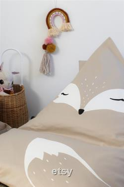 Medium size Lilah the Fox Personalised Bean Bag Chair Natural and Black UNFILLED