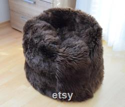 NATURASAN Sheepskin Beanbag Brown Sheepskin Bean Bag Sheepskin Pouf Furry and Fluffy Lambskin Fur Bean Bag Natural Brown 65 cm