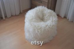 NATURASAN Sheepskin Beanbag White Sheepskin Bean Bag Sheepskin Pouf Furry and Fluffy Lambskin Fur Bean Bag Bean Bag Beanbag 65 cm