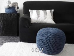 Navy Blue Crochet Pouf Ottoman, Dark Blue Nursery Footstool, Round Floor Pillow Seating Baby Nautical Decor New Parents Gift