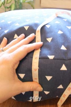 Navy and White Triangle Floor Pillow With Insert Free Shipping Made in the USA