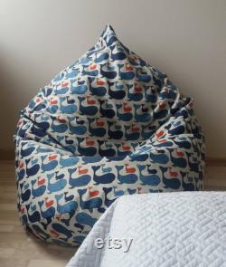 Navy blue whale bean bag chair, Ocean nautical bedroom decor, Natural linen floor pillow seating, With cotton insert, Fill is not included