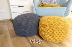 Nursery decor boy girl, pouf ottoman, crochet pouf, gray pouf, small pouf, large round pouf, toddler room decor, room infant, footstool
