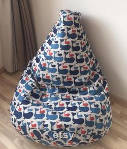 Ocean bean bag chair, Blue whale kids beanbag, Linen floor pillow seating, Nautical decor, With cotton insert, Fill is not included