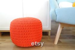 Orange Pouf Ottoman, crochet pouf, poof ottoman, nursery decor boy, toddler room decor, baby room decor, floor poof, footstool, knitted pouf