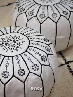 Ottoman pouf Moroccan Embroidery Handmade pouf Footstool Gift Floor-pouf storage stool Decorative Ottoman Floor pouf. Unstuffed.