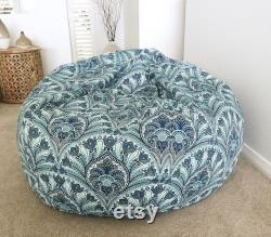 Outdoor Bean Bag, Beanbag Cover Only, Crescent Beach Indoor Outdoor Bean Bags, Tropical Outdoor Bean Bags