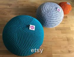 Outdoor knit pouf, Round pouf ottoman, Teal pouf, Made in Italy, Kids Ottoman, Footstool, Floor pillow, Bean bag chairs, handmade cover