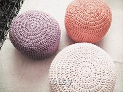 Pastel Peach Nursery Pouf Footstool, 20 x 12 Round Knitted Pouffe Ottoman, Baby Girl Room Decor, Mom to Be Gift