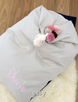 Personalised Bean Bag Chair Natural and Navy FILLED