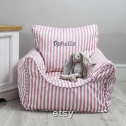 Personalised Child Stripe Bean Bag Chairs 2 Colours