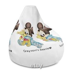 Personalized Bean Bag Chair with filling Baby Mickey Mouse with Teddy Bear