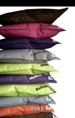 Personalized beanbag seat island with outdoor fabric water repellent