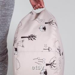 Pink bean bag, Blush Pink Woodland Beanbag, children's decor, beanbag, footstool, beanbag with carry handle, pouf