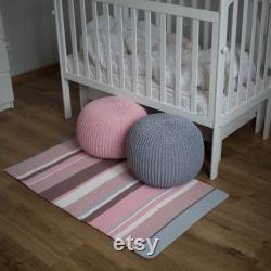 Pink grey crochet pouf ottoman