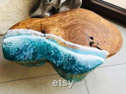 Pouf Footrest in Olive Wood and Epoxy Resin Wave Effect 46x33x6,5 cm Total height 22 cm