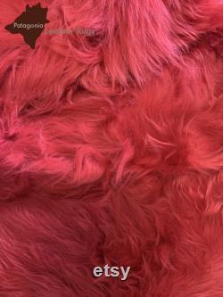 Pouf armchair with real lambskin bag sheepskin Bean bag chair Pouf en peau de mouton Lammfell Sitzsack Red