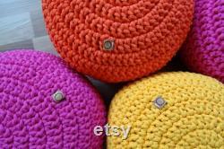 Pouf ottoman, Crochet pouf, toddler room decor, pouf ottoman, poof ottoman, braided pouf, nursery decor girl, childs ottoman,
