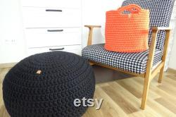 Pouf ottoman, crochet pouf, toddler room decor, braided pouf, ottoman pouf, nursery decor boy, nursery decor girl, scandinavian decor