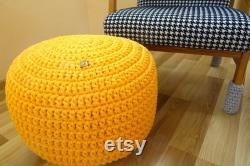 Pouf ottoman, yellow pouf, knitted bean bag, nursery decor boy, yellow crochet pouf, footstool, nursery pouf, cotton cord pouf, baby decor