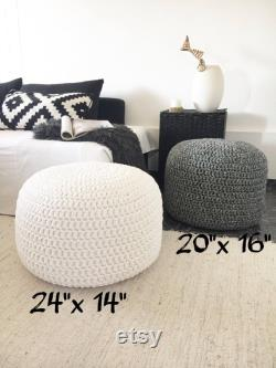 Pure White Footstool Pouf, Round Crochet Ottoman, Modern Home Decor Seats